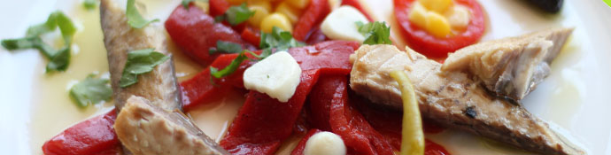 aperitivo aove ensalada caballa pimientos asados 1